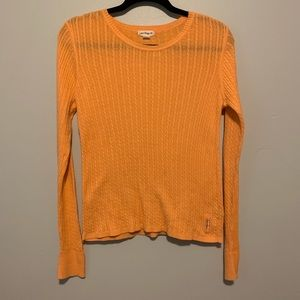 Women's orange Polo Jeans Co cable knit sweater